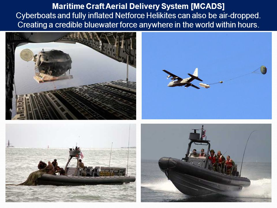 Maritime Craft Aerial Delivery System [MCADS] Cyberboats and fully inflated Netforce Helikites can also be air-dropped.